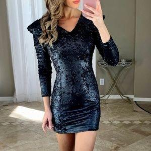 New Nordstrom Leith Black Long Sleeve Sequin Dress